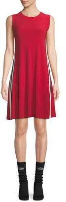 Norma Kamali Side-Stripe Crewneck Jersey Swing Dress
