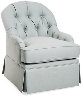 One Kings Lane Marlowe Swivel Glider Chair - Sea Linen