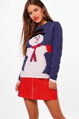 boohoo Petite Snowman Christmas Jumper