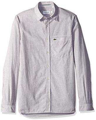 Lacoste Men's Long Sleeve Button Down Stripe Collar Regular Fit Woven Shirt