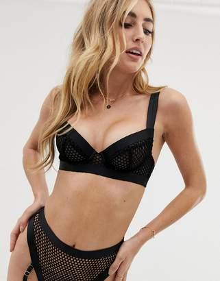 dcd9a5bb4b12c Asos Design DESIGN Agnes chunky strap   fishnet underwire bra in black