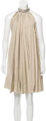 Lanvin Embellished Accordion Pleat Dress