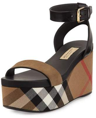 Burberry Nuneaton Check Wedge Sandal, Dark Heather Melange