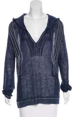 White + Warren Open-Knit Hooded Sweater