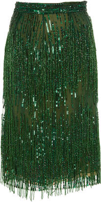 Naeem Khan M'O Exclusive Beaded Fringed Chiffon Skirt