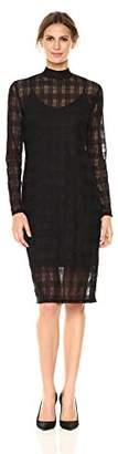 Nicole Miller Studio Women's Long Sleeve Sheer Plaid Lace Mock Neck Sheath Dress with Slip