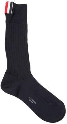 Thom Browne Ribbed Mid-Calf Cotton Socks