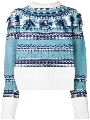 Ports 1961 fringed detail jacquard sweater