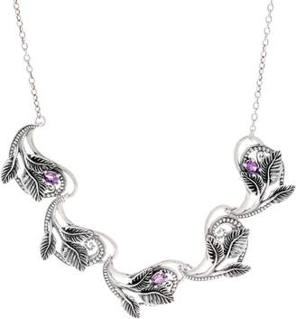 Or Paz Sterling Silver Gemstone Leaf Link Necklace