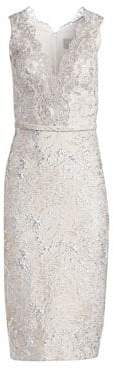 Theia Metallic Jacquard Lace Cocktail Dress