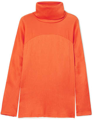 Sies Marjan Plissé-satin Turtleneck Top - Orange