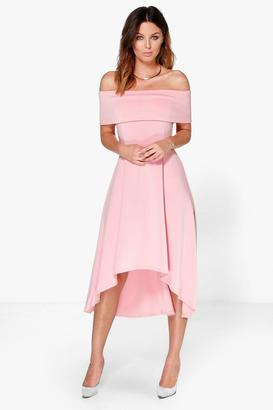 boohoo Lizzy Off The Shoulder Dip Hem Skater Dress
