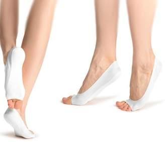 PureAid Non-slip Shock-Absorbing Open Toe Socks For Women (White)