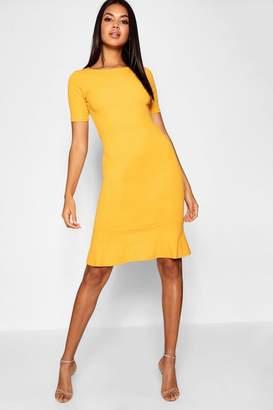 boohoo Frill Hem Midi Dress