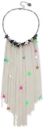 """Betsey Johnson Multi-Tone Neon Star Chain Fringe Frontal Necklace, 16"""" + 3"""" extender"""