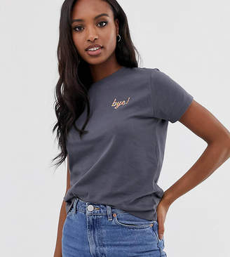Asos Tall DESIGN Tall t-shirt with embroidered bye motif
