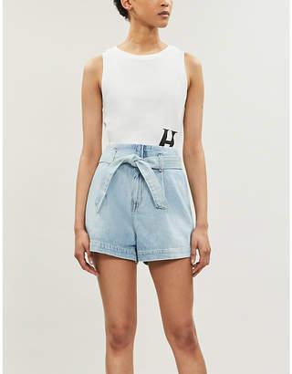 Replay Waist-tie high-waist denim shorts