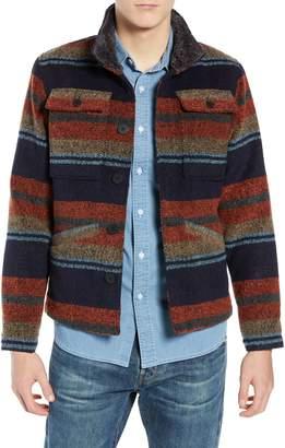 Tunellus Stripe Faux Fur Collar Jacket