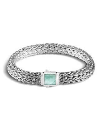 John Hardy Classic Chain Silver Medium Reversible Bracelet with Black Sapphire and Emerald