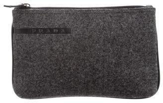 pradaPrada Leather-Trimmed Tweed Pouch