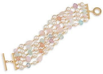 CaroleeCarolee Garden Party Quartz and Simulated Pearl Beaded Bracelet