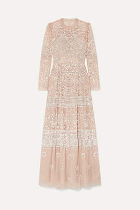 Needle & Thread Aurora Ruffled Sequin-embellished Tulle Gown - Beige