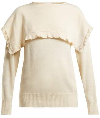 See by Chloe Ruffled Bib Alpaca Blend Sweater - Womens - Cream