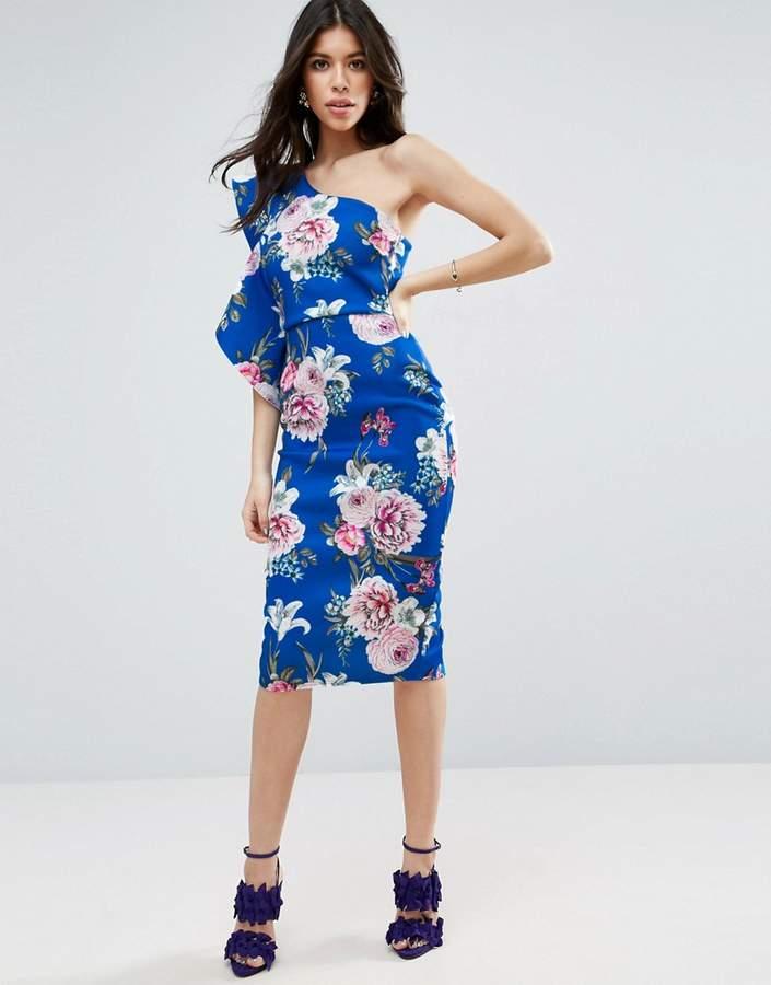 AsosASOS Floral Ruffle Scuba One Shoulder Midi Dress