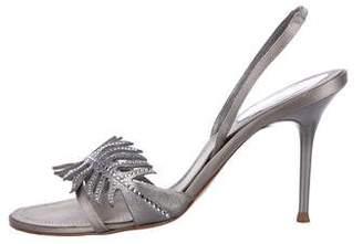 Rene Caovilla Satin Embellished Sandals