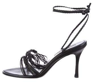 Oscar de la Renta Braided Leather Sandals