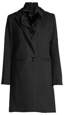Sofia Cashmere Ruffle Wool& Cashmere Coat