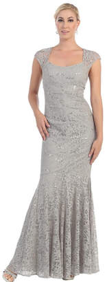 May Queen Silver Lace Long Dress