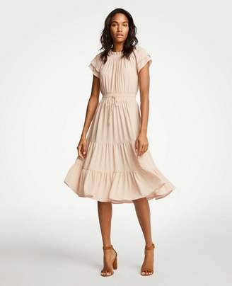 Ann Taylor Smocked Tie Waist Ruffle Dress