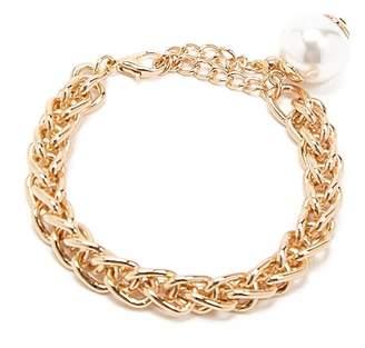 Forever 21 Faux Pearl Byzantine Bracelet