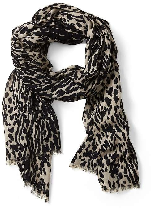 Leopard Print Rectangular Scarf