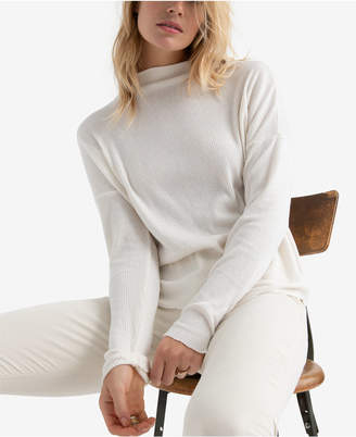 Lucky Brand Cloud Jersey Ribbed Mock Turtleneck Top