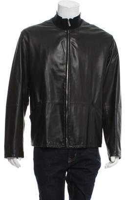 Giorgio Armani Leather Zip-Up Jacket