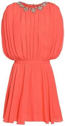 Valentino Embellished Pleated Silk Crepe De Chine Mini Dress