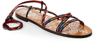 Valentino Santeria Woven Lace-Up Flat Sandals