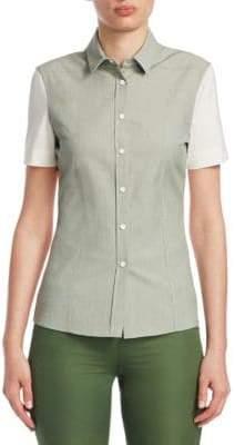 Akris Punto Contrast-Sleeve Polo Top
