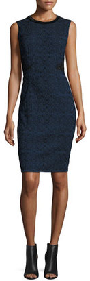 Elie Tahari Dorian Textured Lace-Panel Sheath Dress, Navy/Black $468 thestylecure.com