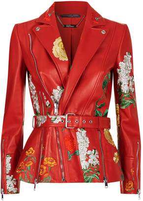 Alexander McQueen Embroidered Leather Jacket