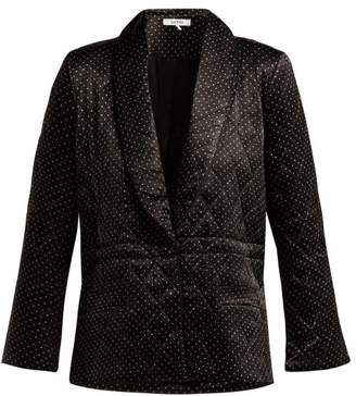 Ganni Cameron Polka Dot Quilted Satin Blazer - Womens - Black