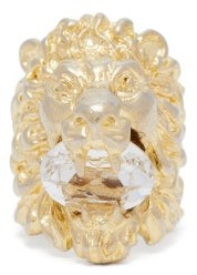 Gucci Crystal Embellished Lion Ring - Womens - Gold