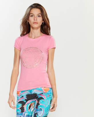 Versace Pink Studded Medusa Short Sleeve Tee
