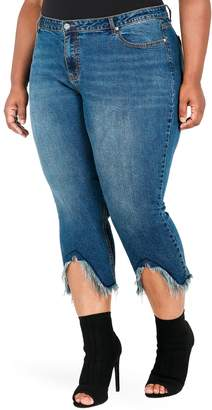 Justice Poetic Faye Frayed Crop Jeans