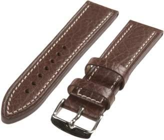 Republic Men's Contrast Stitch Shrunken Grain Leather Watch Strap 22mm Regular Length, Brown