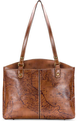 Patricia Nash Poppy Map Print Leather Satchel