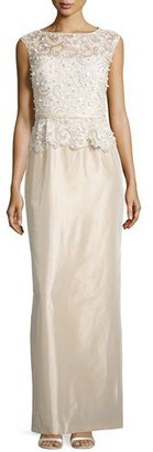 Rickie Freeman for Teri Jon Sleeveless Embroidered Peplum Column Gown $860 thestylecure.com