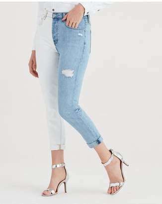 7 For All Mankind High Waist Josefina With Rolled Hem In Cloud Sky
